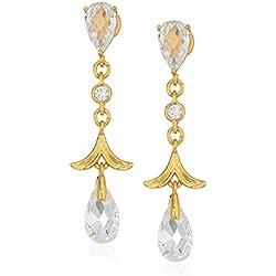 Floral Gold Zirconia Stone Studded Hoop Earrings