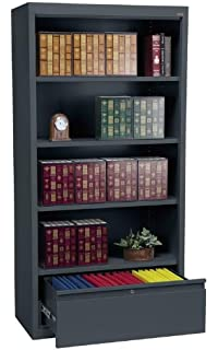 Sandusky Lee BD30361872 02 System Series Bookcase With File Drawer, Charcoal
