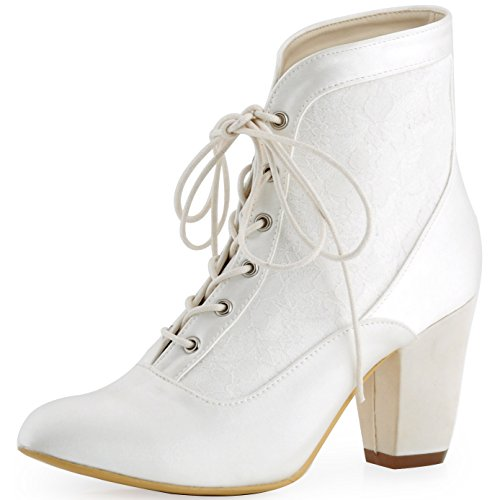 (ElegantPark HC1528 Women Closed Toe Chunky Heel Lace Up Satin Lace Wedding Bridal Boots White US 7)