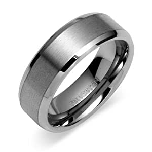 Tungsten Carbide 8 mm (5/16 in) Comfort Fit Flat Wedding Band Ring w/ Brushed Center & Beveled Edge (Available in Sizes 8 to 11) size 8