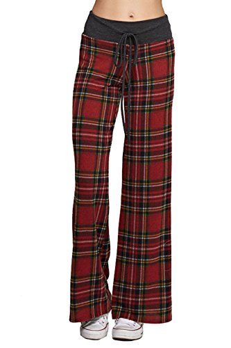 (Marilyn & Main Women's Comfy Soft Stretch Pajama Pants,Red Plaid,Small)