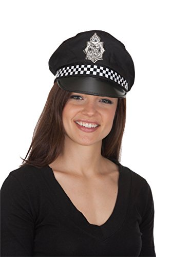 Pig Cop Costume (Jacobson Hat Company Men's Police Cap with Checker Band, Black, Adult)