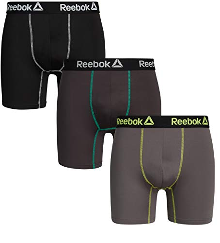 Reebok Mens 3 Pack Performance Quick Dry Moisture Wicking Boxer Briefs (Small, Black/Grey Lime/Charcoal)'