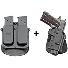 Fobus Concealed Carry Paddle Holster + 4500 Double Magazine Pouch fits Colt 45 Government & All 1911 style / FN High power / FN 49 / Kimber 4&5 inch / Sasilmaz Klinic 2000 light / Browning Hi-power Mark III 4, 5mm. / Browning GPDA 9