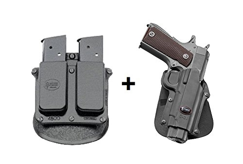 Fobus Concealed Carry Paddle Holster + 4500 Double Magazine Pouch fits Colt 45 Government & All 1911 style / FN High power / FN 49 / Kimber 4&5 inch / Sasilmaz Klinic 2000 light / Browning Hi-power Mark III 4, 5mm. / Browning GPDA 9 ()