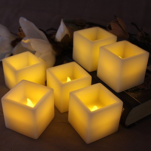 (LED Lytes Flameless Candles, 6 Square Ivory Wax Candles 2 Inches X 2 Inches)