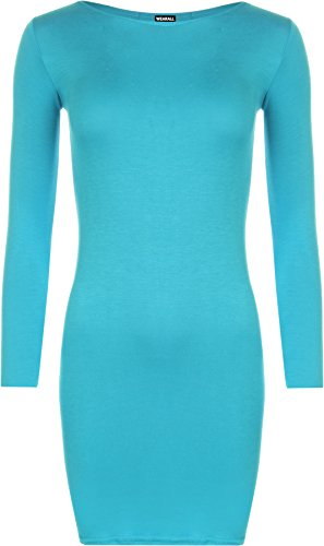 Wearall Femmes Taille Plus Moulante Extensible Robe À Manches Longues Turquoise Simple Top