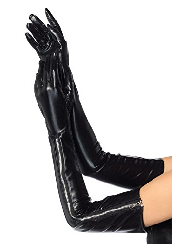 Leg Avenue Women's Wet Look Opera Length Zipper Gloves, Black, One Size