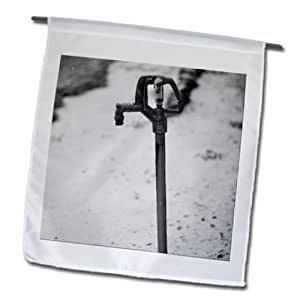 Jos Fauxtographee Winter - A watering pump in a yard scarcely covered in snow - 12 x 18 inch Garden Flag (fl_98246_1)