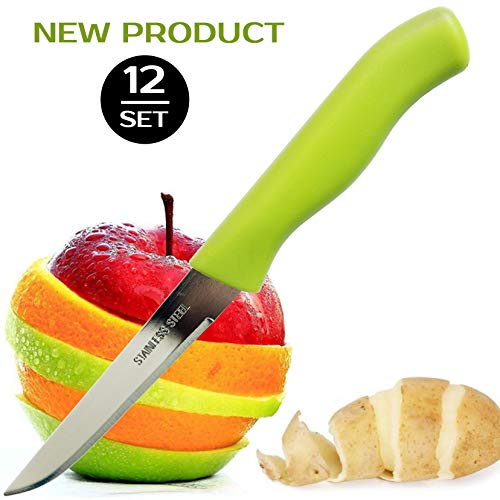 Brenium Paring and Garnishing Knife, Set of 12 Knives with Straight Edge 3 Inch Blade, Stainless Steel, Spear Point, Fruit & Vegetable, Green by Brenium