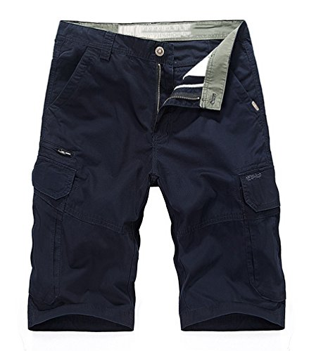 Vcansion Men's Cotton Summer Loose Fit Twill Multi Pocket Cargo Shorts Blue US 34/Asia 36