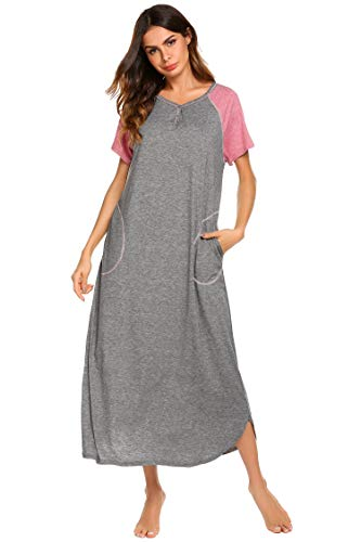 Ekouaer Maxi Nightgown Lounge Dress Long Nightshirt Plus Size (Grey, Large) - Womens Lounge Dress