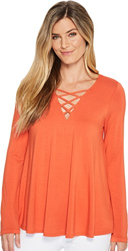 Karen Kane Women's Criss-Cross Swing Top Orange X-Small