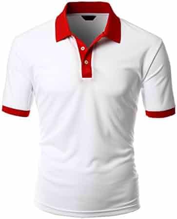 6e410989 Xpril Men's 2 tone coolon fabric polo collar short sleeve T-shirt