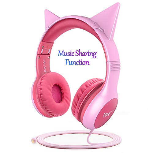 Esonstyle Kids Headphones Pink Girls Update Music Sharing Function,Wired Over Ear Cat Ear Headset,85dB Volume Limited,Food Grade Silicone, 3.5mm Jack for Children Baby,Pink (cat Ear ()