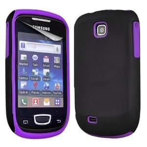 (Violeta) Samsung Galaxy Mini S5570 Disco duro híbrido de doble capa de silicona suave Cubierta Piel y Protector de pantalla LCD de Spyrox