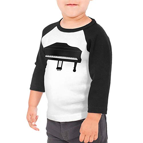 HIGASQ Unisex Baby Piano Toddler's O Neck Raglan 3/4 Sleeve Baseball T Shirt for 2-6 Boys Girls Black ()