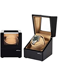 Automatic Single Watch Winder for Men Rolex Winder with Quiet Motor,Premium Solid Wood Exerior and Soft Flexible Watch Pillows of Camel Velvet