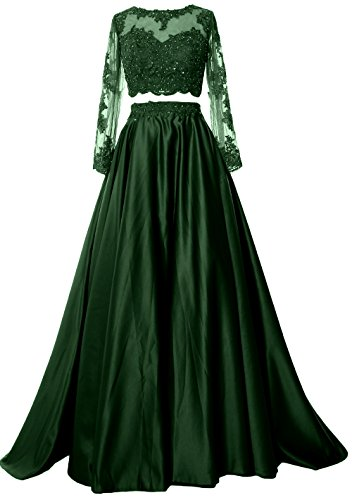 MACloth Women Two Piece Long Sleeve Prom Dress Lace Satin Formal ...