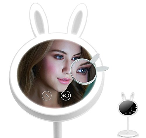 Yoyokit Lighted Makeup Mirror 2 in 1 Rabbit-shaped Folding Travel Vanity Mirror with Table Lamp,Touch Screen Dimming, Magnetic Detachable 7X Magnification Spot Mirror For Vanity - Mirror Base Lamp