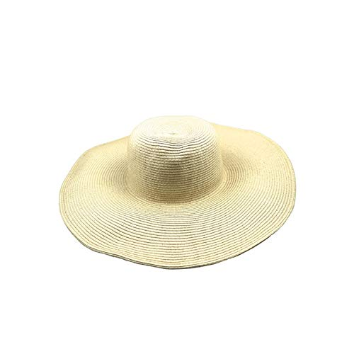 ANNEFF Hot Women's White Hat Summer Black Oversized Sunbonnet Beach Cap Women's Strawhat Sun Hat Summer Hat Beige ()