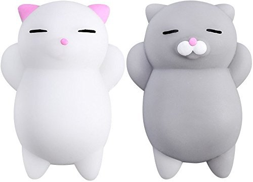 Nutty Toys Squishy Cat Set + Free Sticker - 2 Soft Silicone Kawaii Kitty Squishies - Top Stress Relief & Fidget Toy for Kids & Adults - Unique Present Idea - Best Gifts for Boys & (Kitten Birthday Gifts)