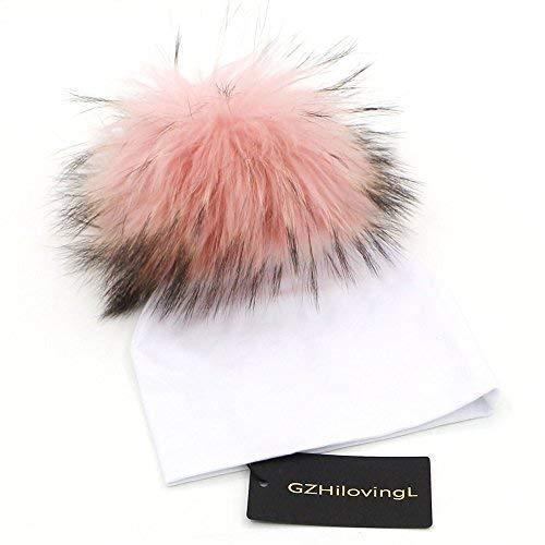 9c00d469c09 GZHILOVINGL 0-6 Months Baby Hats Newborn Infant Beanie with Real Fur Pom  Pom Winter