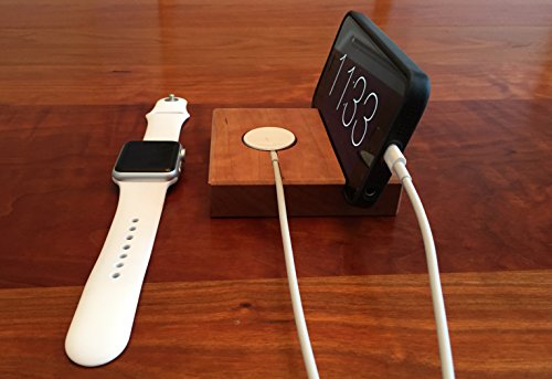 Wood Apple Watch and iPhone Docking Station - Cherry or Walnut wood by A. R. Kaufman Woodworks