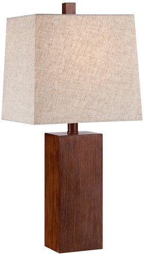 Wood Base Table Lamp - Darryl Wood Finish Rectangular Table Lamp