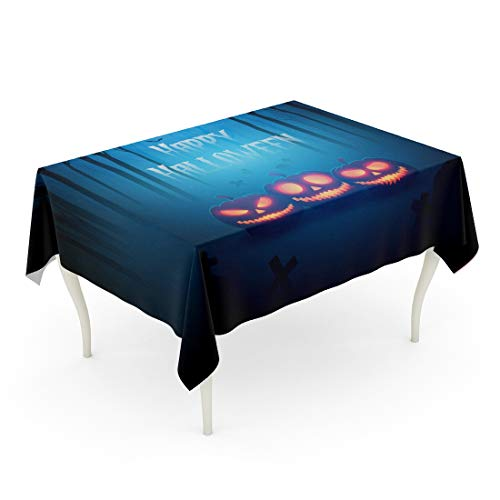 Tarolo Rectangle Tablecloth 60 x 102 Inch Escape Pumpkin in Forest of Death Silhouettes for Halloween Ghost Monster Tree Fantasy Party Table Cloth -