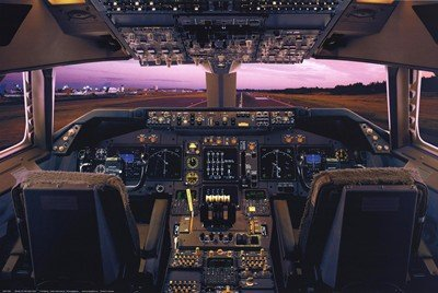 (Boeing 747-400 Flight Deck Poster 36 x 24in )