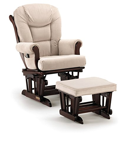 Shermag Glider Rocker Combo, Espresso with Pearl Beige (Best Chairs Inc Glider Rocker compare prices)