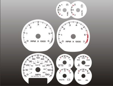 - 1998-2002 Chevrolet S10 TACH MANUAL White Face Gauges