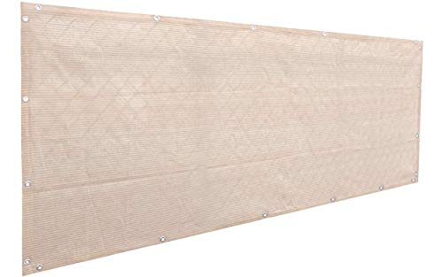 Alion Home Elegant Privacy Screen Mesh Windscreen for Backyard Deck, Patio, Balcony, Pool, Porch, Fence. No Black Trim. 35 in Tall Banha Beige (35''x16')