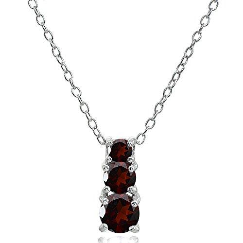 Sterling Silver Garnet Round Graduating Three Stone Pendant Necklace