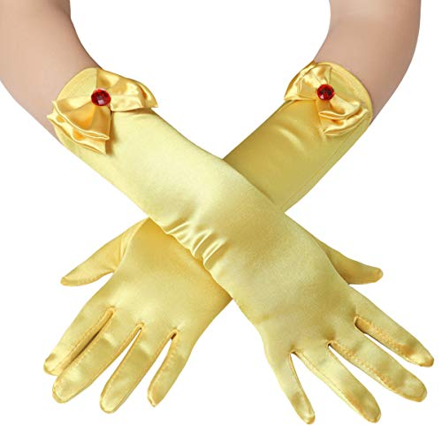 BABEYOND Girls Long Opera Dress-up Gloves Princess Satin Gloves Stretchy Bows Gloves Kids Size for Party Photography Elbow Length (Yellow) ()