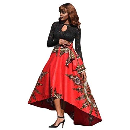 TOTOD Women Dress New African Women Printed Summer Boho Long Dress Beach Evening Party Maxi Skirt