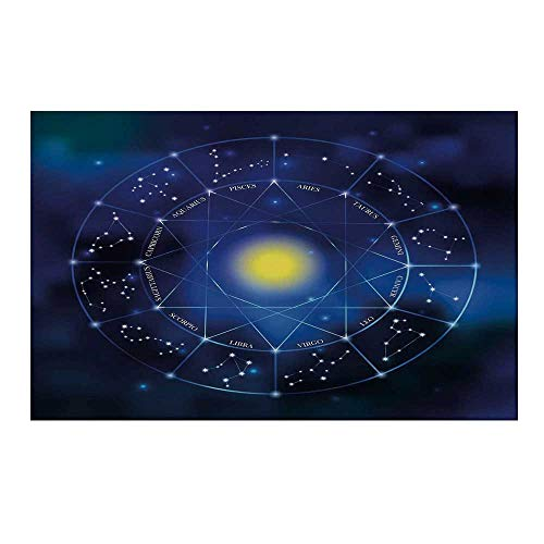 - YOLIYANA Constellation Durable Door Mat,Collection of Zodiac Signs in a Geometric Circle Horoscopes Sun for Home Office,19.6