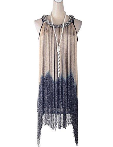Prettyguide Women Long Swinging Fringe Flapper Tassel Chain Coil Braided Trim Neck Dress Gold and Black