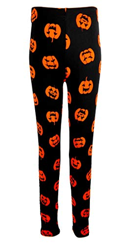 Big Girls Halloween Leggings, Orange Pumpkin Jack-o-Lantern Print, Black 10/12 Medium ()