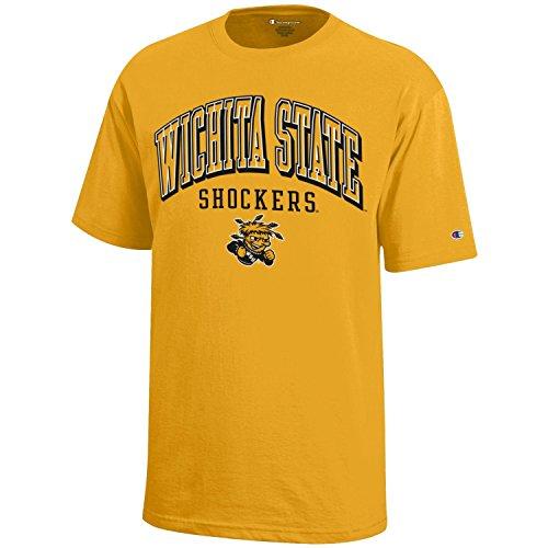(Champion NCAA Wichita State Shockers Youth Boys Short Sleeve Jersey T-Shirt, Medium, Gold)