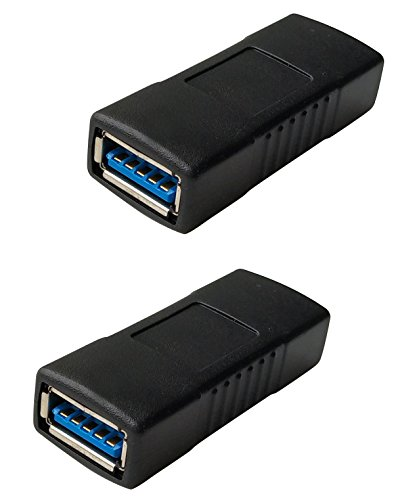 USB Connector Female to Female Adapter/USB 3.0 Extension Cable Coupler SuperSpeed Connector (2Pack)