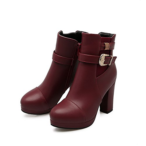 Soft Heels Toe Solid Claret High Women's Material AgooLar Zipper Boots Round Closed TOxZAwn0
