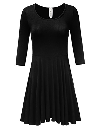 DRESSIS Women's Basic Solid Scoop Neck 3/4 Sleeve Flared Pleated Skirt A Line Mini Dress BLACK M (Neck Skirt Pleat Scoop)