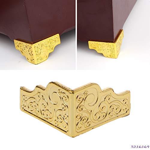 - ZANAN -Tecco - 20PCS Gold Jewelry Box Wood Case Decorative Feet Leg Corner Protector Furniture