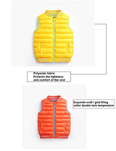 Coats Boys Children Vest Jacket Warmer Yellow Year Girls Winter Body Waistcoat Gilet Outerwear for Down Zipper BESBOMIG 3 Autumn Sleeveless 8 vPqdwvZ