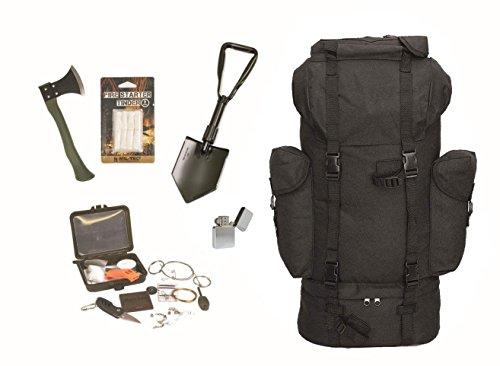 AOS-Outdoor Survival Set BW Bundeswehr Flecktarn Kampfrucksack + Spaten + Beil + Survival Box usw. Notfall Set…