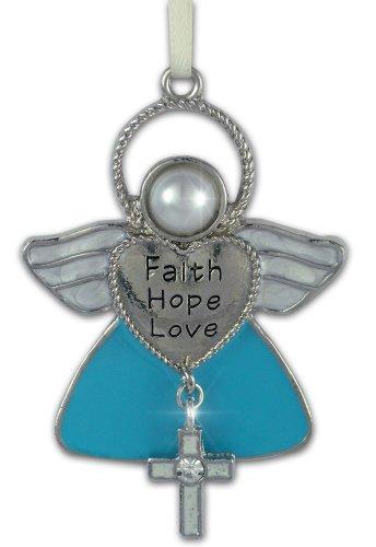Angel Enameled Pendant (Faith Hope Love Angel Christmas Ornament with Cross)