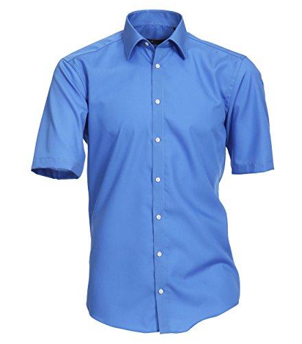 Venti - Slim Fit - Bügelfreies Herren Kurzarm Hemd in diversen Farben (001620), Kragenweite:36;Farbe:Blau (11)