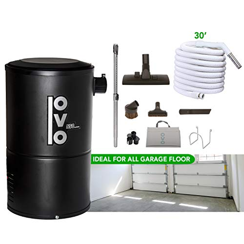 OVO Compact and Powerful Central Vacuum System, 550AW, Use with Disposable Bags 18L or 4.75Gal and 30 ft Garage Accessory Kit INCLUDED, Condo-Vac, black